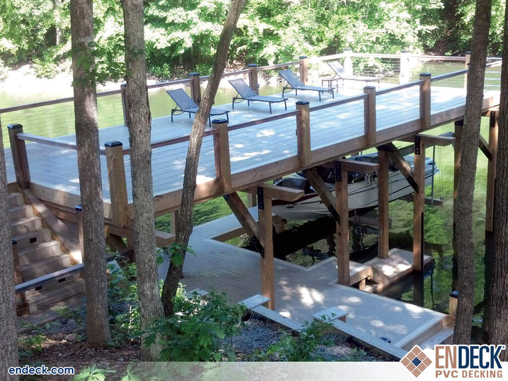 Photo of Elevated Deck over a boat dock in Docks - Marinas - Boardwalks photo gallery from Endeck PVC Decking
