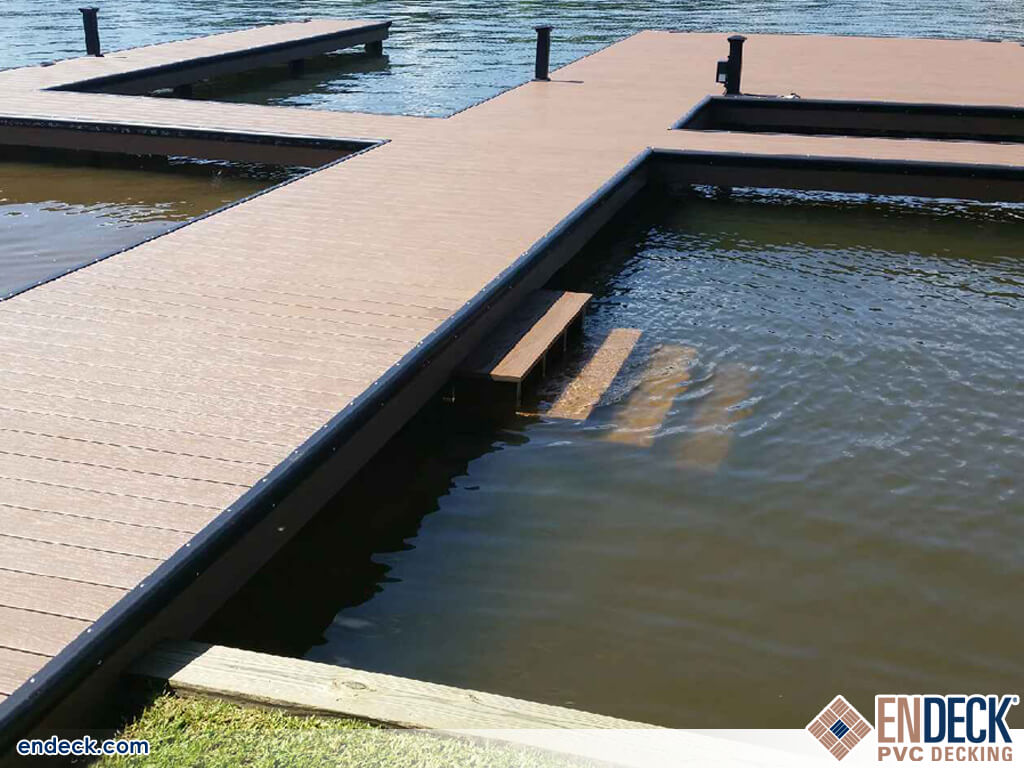 PVC Decking Can Be Submerged Unlike Composite or Wood in Docks - Marinas - Boardwalks photo gallery from Endeck PVC Decking